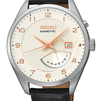 Seiko Kinetic Mens Leather Strap Watch - White Dial - Day / Date - Two-Tone