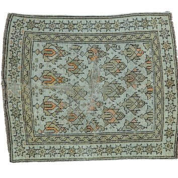 2x2.5 Antique Caucasian Square Rug Mat