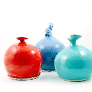Salt holder -  ceramic  French Salt Pig - Cellar or Keeper with spoon - your choice of colors