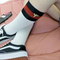 Gucci Fashion Casual Trending Striped Bee Embroidery Socks Stockings G