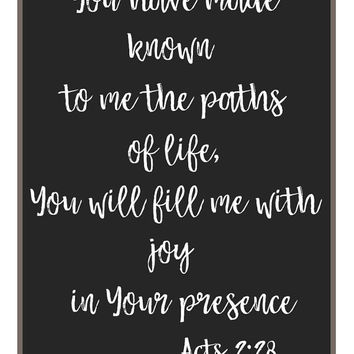 Scripture art download, printables, Acts book 2 verse 28, bible verse, wall art, new home gift, wedding gifts, bible quote, shop for home