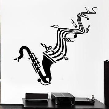 Wall Sticker Vinyl Decal Saxophone Sheet Music Jazz Blues Lover Unique Gift (ig1295)