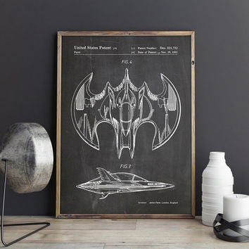 Batwing Poster, Batwing Patent, Batwing Printable, Batman Blueprint, Batman Poster, Batman Nursery Decor, Batman Printable, INSTANT DOWNLOAD