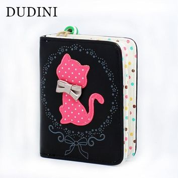 DUDINI Cute Cartoon PU Leather Wallets Lovely Cat Printing Dots Women Wallet Ladies Clutch Change Coin Purse Card Holder