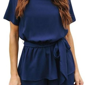 Navy Blue Short Sleeves Peplum Waist Romper