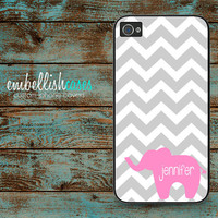 ELEPHANT iPhone 4 Case - grey pink chevron iPhone 4s case - monogrammed iPhone 4s case - personalized with your name or initials - 219