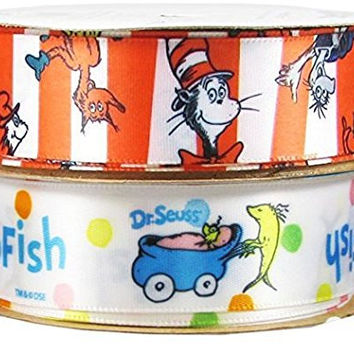 Offray Dr. Seuss Craft Ribbon Combo, 2 Rolls of 7/8-Inch x 9-Feet, Thing one, Thing Two, Cat in the Hat and New Fish, for Hair Bows, Sewing, Scrapbook--b015
