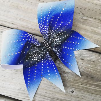 Ombre bow with 3 colors and rhinestones.
