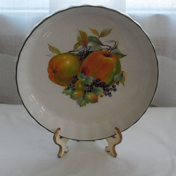 1980s Vintage MAYELL Oven to Ceramic Flan, Quiche Dish Made in England/White with Fruit Decoration in Center/Used Oven 2 Table Baking Dish