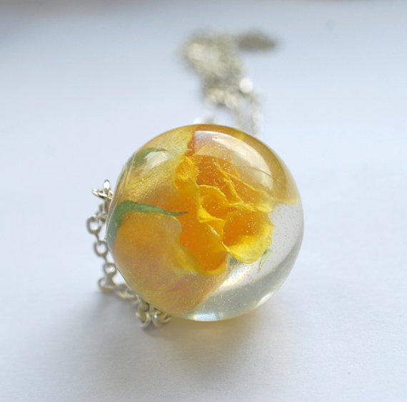 One True Rose Necklace 01 Yellow Rose Resin by NaturalPrettyThings