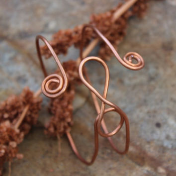 Metal Copper Bracelet Upper Arm Cuff - Infinity Ram's Head, Natural, Unisex Tribal Earthy Hypoallergenic, Copper Jewelry, Infinity Jewelry