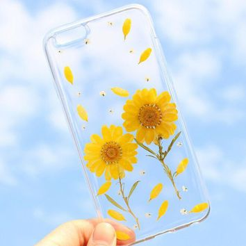 yellow chrysanthemum case 100 handmade dried flowers cover for iphone 7 7plus iphone 6 6s plus gift box b61  number 1
