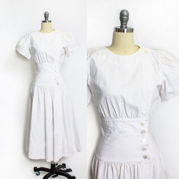 Vintage 1980s Dress - White Linen Button Front Full Skirt 80s - Small