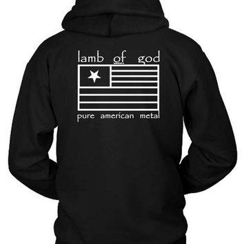 DCCKG72 Lamb Of God Pure American Metal Flag Hoodie Two Sided