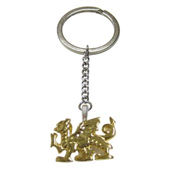 Gold Toned Welsh Dragon Pendant Keychain