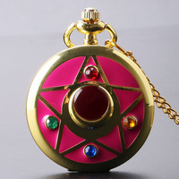 Golden Sailor Moon Theme Necklace Pendant Quartz Pocket Watch With Necklace Chain Girl Gift