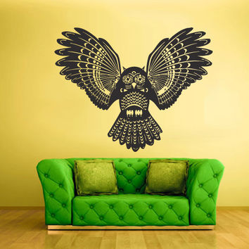 Wall Vinyl Sticker Decals Decor Art Bedroom Design Mural Owl Bird Tattoo Mandala Tribal (z2364)