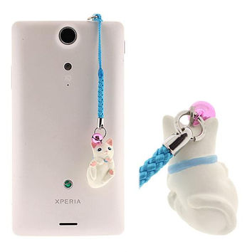 Pet Lovers Kitten Earphone Jack Accessory (White)