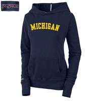The M Den -JanSport University of Michigan Ladies Navy Terry Hooded Swe