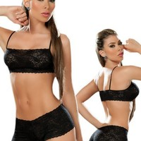 Sexy Black Lace Tank Crop Top Bra and Panties Set