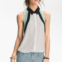 Lush Colorblock Sleeveless Chiffon Shirt (Juniors) | Nordstrom