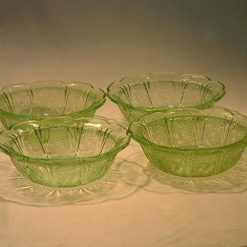 Authentic Vintage 1930's Vaseline Jeannette Glass Cherry Blossom Depression Glassware Small Fruit/Dessert Bowls (4)