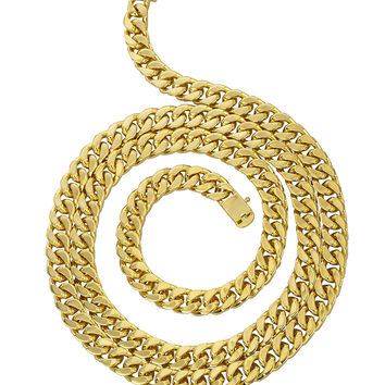 Goldtone Brass 9mm Cuban Chain with Box Lock - 9 30 36 Available (36 Necklace)