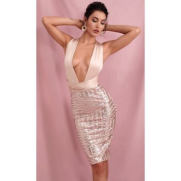 Private Party Nude Rose Gold Sequin Geometric Pattern Sleeveless Plunge V Neck Tie Straps Bodycon Midi Dress