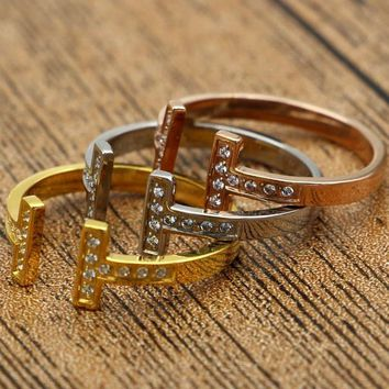 Tiffany rose gold ring titanium jewelry accessories do not fade T-shaped diamond openings are code ring