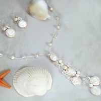 Elegant Freshwater Coin Pearl and Crystal Bridal Necklace & Earrings Bridesmaids gift