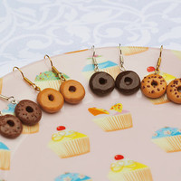 Minature Food, Tiny Bakery, Glazed Bagel Delight, Kawaii Style, Surgical Steel, Hook Earrings, Fashion Accessories