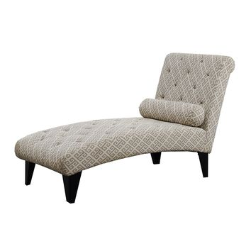 "Chaise Lounger - Sandstone / Grey "" Maze "" Fabric"