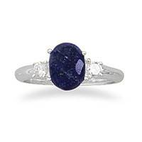 Rough-Cut Sapphire and Cubic Zirconia Ring