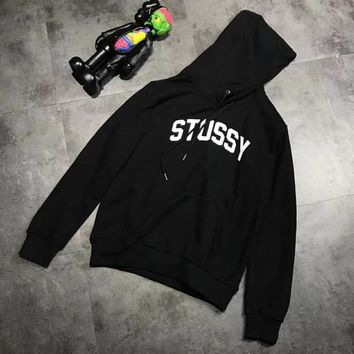 Stussy Fashion Long Sleeve Casual Monogram Print Hooded Sweater G-A-XYCL