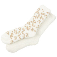 Leopard Cozy Socks - Natural