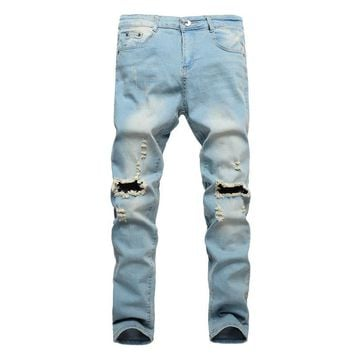 Knee Rips Men Jeans Skinny Stretch Pants Hole Male Denim Trousers Ripped Jeans Pants Slim Fit Straight Casual Joggers Black