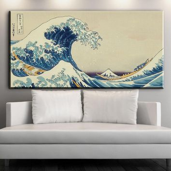 XX687 Japanese The Great Wave off Kanagawa classic art poster Canvas Fabric Printing Wall Art Decor Home Decals Wallposter