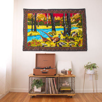 vintage large wall tapestry / velvet fabric textile wall hanging art / large wall decor