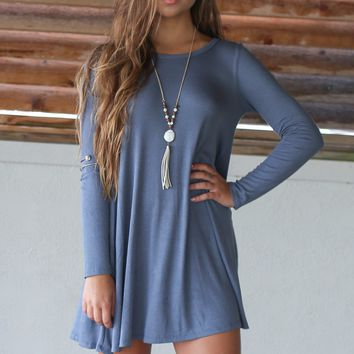 Travel The World Dusty Blue Solid Long Sleeve Pocket Detail Dress