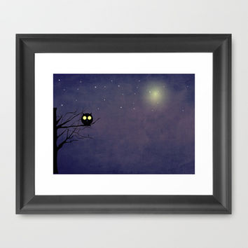 Night Owl ~~ Framed Art Print by Irmak Berktas
