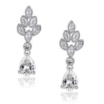 Teardrop and Marquise Cubic Zirconia Leaf Earrings (Clear)