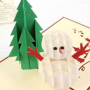 Merry Christmas Xmas 3D Card Thanksgiving Greeting Card Snow Man Happy New Year Greeting Card