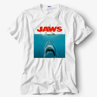 JAWS Shirt, White Shirt, Popular Shirt Hot Product On USA Size S-M-L-XL