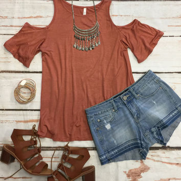 In Plain View Cold Shoulder Top