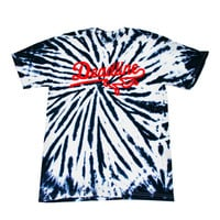 Deadline Contrast Tie Dye Sports Logo T-shirt Blue