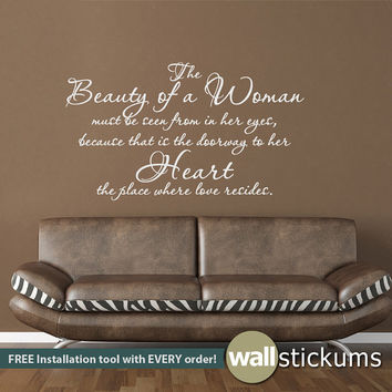 Wall Decal Quote : The Beauty of a Woman Audrey Hepburn Quote Vinyl Wall Art Decal Sticker