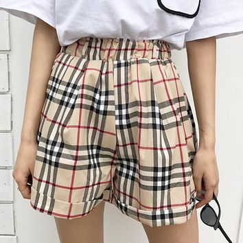 Burberry New fashion plaid women shorts
