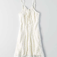AEO Lace Fit & Flare Dress , Cream
