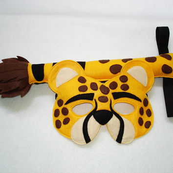 Children's Safari Animal CHEETAH Felt Mask and Tail Set