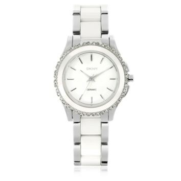 DKNY Designer Women's Watches Westside White Ceramic and Silver Stainless Steel Women's Watch
